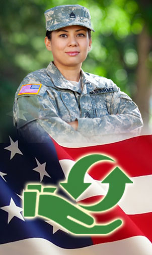 A female veteran poses in front of an american flag with the Give to Veterans logo